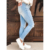 Wholesale 2021 New Fashion Women Casual Light Blue Washed Ripped Jeans