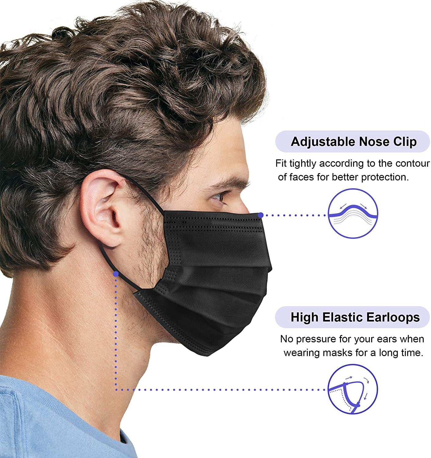 Plain 3 Layers 1Box 50Pcs Women Custom Earloop 4Ply All Black Surgical Face Masks Of 50 Pack Disposable Mask-Black
