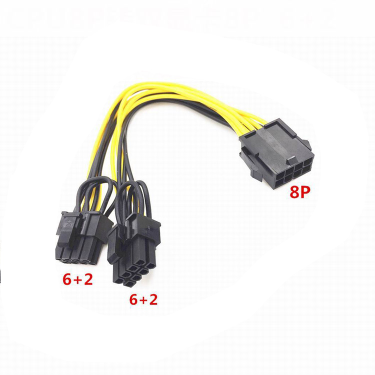 Hot Sale PCI-Express PCIE 8 Pin to Dual 8 (6+2) Pin Video Card Adapter Power Supply Cable