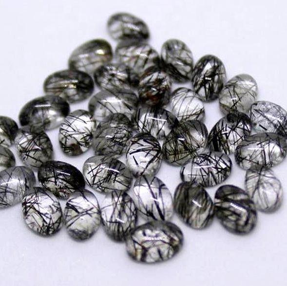 Black Rutile Natural Cabochon Semi Precious Loose Jewelry Making Gemstone