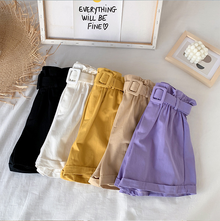 New Summer Elegant High Waist Shorts Women Casual Solid Color Wide Leg Loose Cotton Short Pants With Belt Korean Sweet Girls