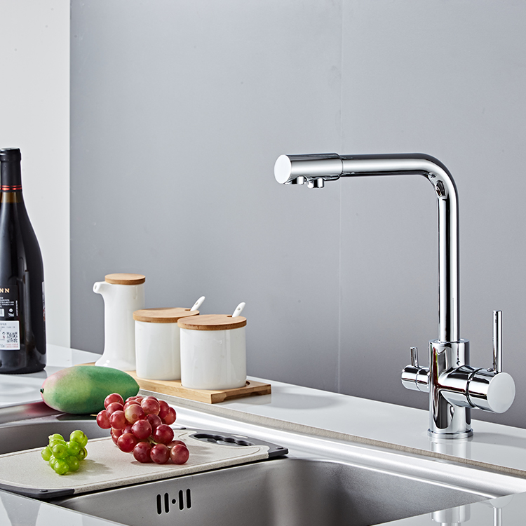 New Model Sink Drinking Water Polished Double Ceramic Handle Pull Kitchen Faucet