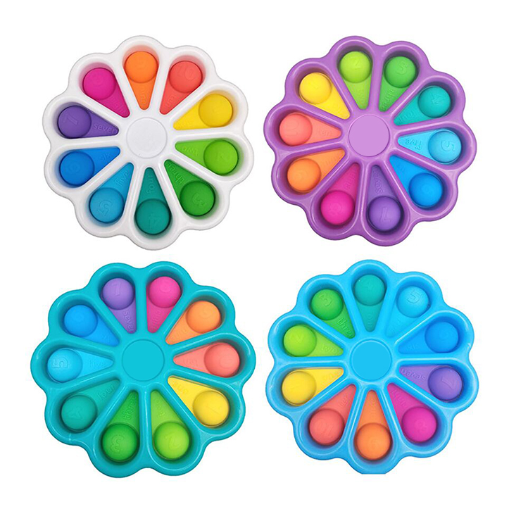 Amazon Hot Selling Colorful Fat Brain Baby Grasping Practice Board New Flower Simple Dimple For Bubble Rainbow Fidget Popper Toy