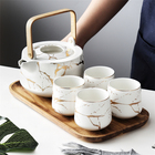 Tea Porcelain Tea Set High Quality Wooden Handle Teapot Black White Marble Porcelain Tea Set With Bamboo Tray