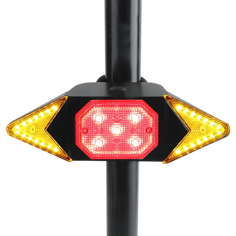 USB Recarregável Luz Da Cauda com Sinais da Volta de Moto-Turner Controle Remoto Sem Fio À Prova D' Água Luz Traseira Da Bicicleta CONDUZIU a Luz Traseira