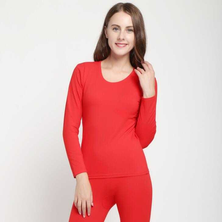 Autumn and winter ladies thermal underwear set stretch solid color round neck underwear bottoming factory direct sales