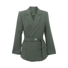 Женский пиджак с пуговицами EAM, Зеленый свободный пиджак с отложным воротником и длинным рукавом, весна-осень 2020, 1W484(Китай)