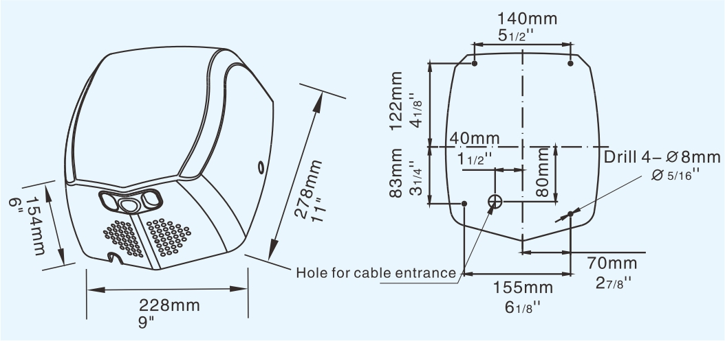 Настенная высокоскоростная сушильная машина большой мощности, струйная ванная электрическая автоматическая сушилка для рук