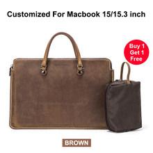 Винтажная кожаная сумка для ноутбука Macbook Pro, 15 дюймов, сумка-мессенджер для отдыха, портативный портфель, тонкие сумки для 15 дюймов Dell/hp/acer(Китай)
