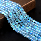 Jingcan Wholesale Blue Clear Crystal Glass synthesis Glitter Moon AB color loose gemstone beads