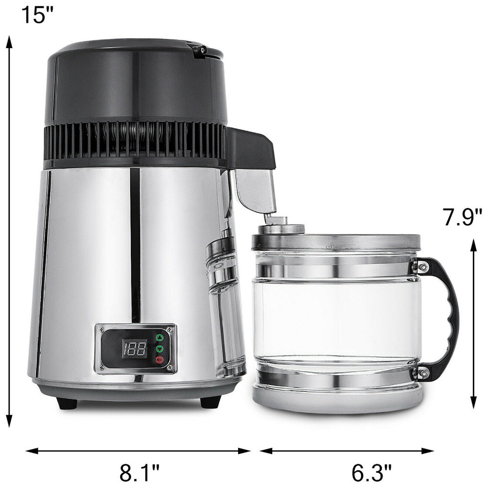 Stainless Steel 750W 4L Water Distiller Water Purifier water for injection vapor compression distillation