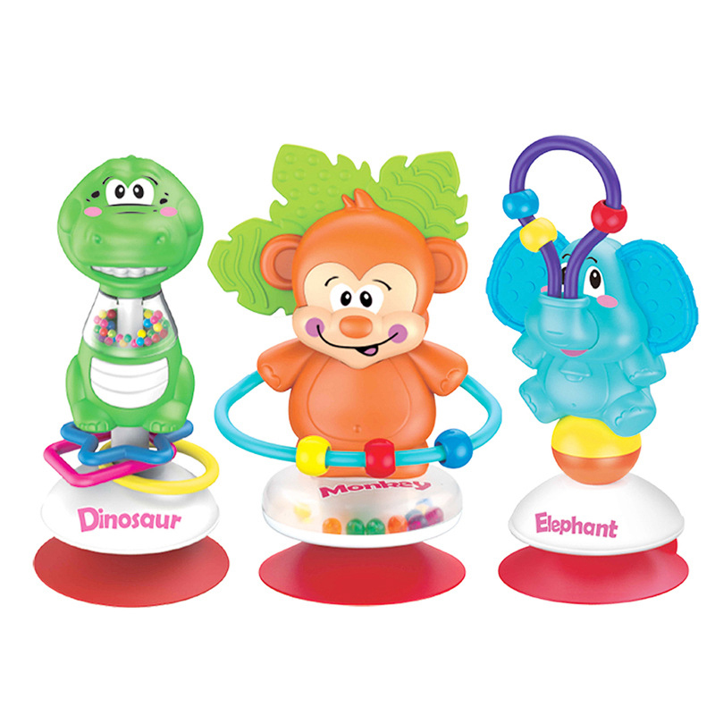 Plastic baby rattle Beads Toy Table Sucker Rattles Infant Dining Chair Suction Rattles Stroller Handheld Suction Cups Toys