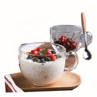 Large Milk with Handle Cup Glass Breakfast Cup Idea Oatmeal Fruit Salad Potbelly Cup Thickened section