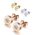 Earring Gold Earrings Earrings Fashion Zircon Earring Stainless Steel Rose Gold Plated Stud Earrings