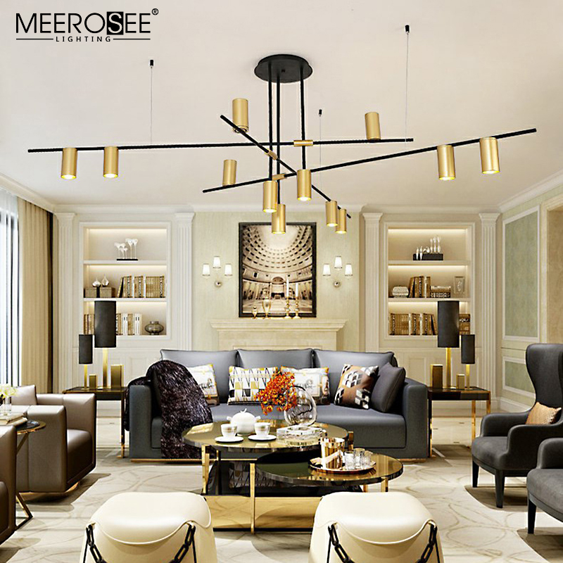 MEEROSEE Hotel Project Unique Design Pendant Light High Ceiling Track Light Chandelier for Shopping Mall MD86743
