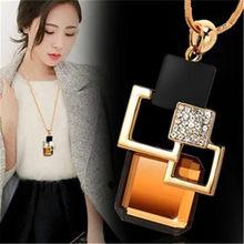 LWMMD квадратная подвеска с кристаллами, длинное ожерелье с кисточками, женские модные ювелирные изделия, оптовая продажа, серебряная цепочка...(Китай)