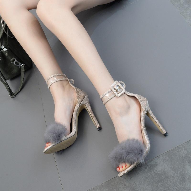 PDEP китайская фабрика, оптовая продажа, модные женские туфли-лодочки с меховым дизайном, пикантные сандалии на высоком тонком каблуке, женские туфли на шпильке