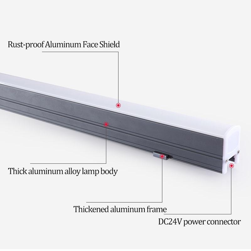 Светодиодная линейная осветительная арматура 3 Вт 6 Вт 12 Вт, водонепроницаемая осветительная арматура IP65, светодиодная лампа с тройной защитой, светодиодная настенная шайба 1080