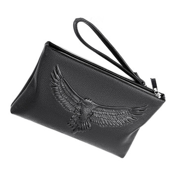 VICUNA POLO Wholesale Business Style Genuine Leather Clutch Bag for Men Fashion Embossing Eagle Black Envelope Clutch Bag
