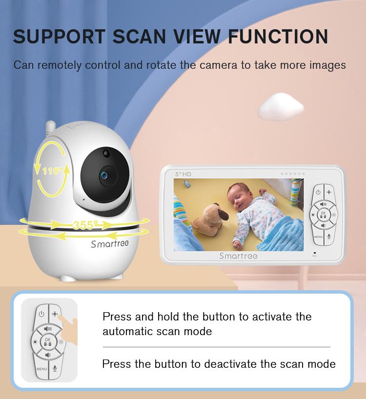 Цена по прейскуранту завода-изготовителя видео детка монитор 5-дюймовый белый ночного видения Обнаружение звука с ЖК-дисплеем контроля температуры для детского сна