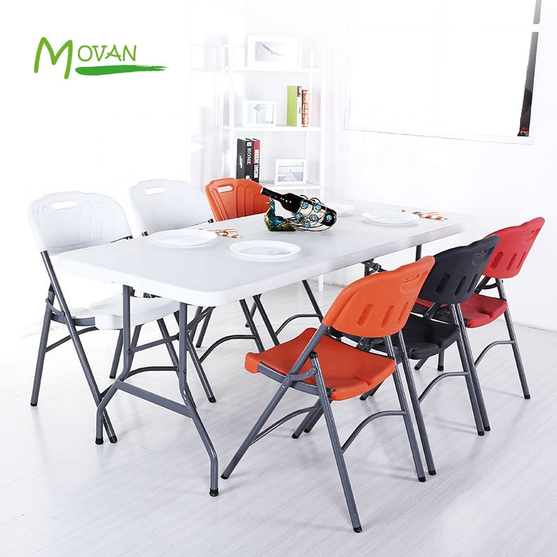 MOVAN White outdoor portable stall table Common use 6ft folding plastic table for events