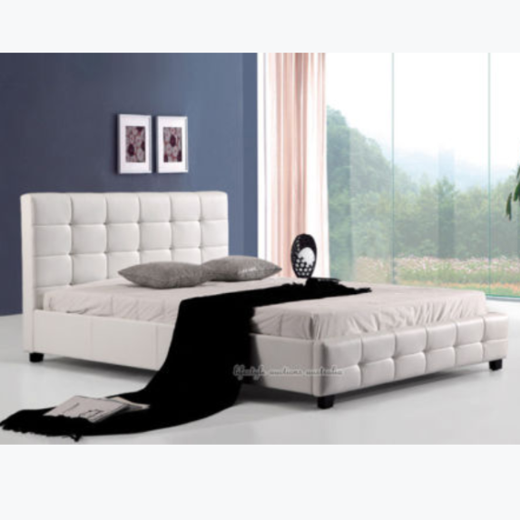 Upholstered Leather Bed Bedroom Furniture Leather Double Bed King Size Leather Bed