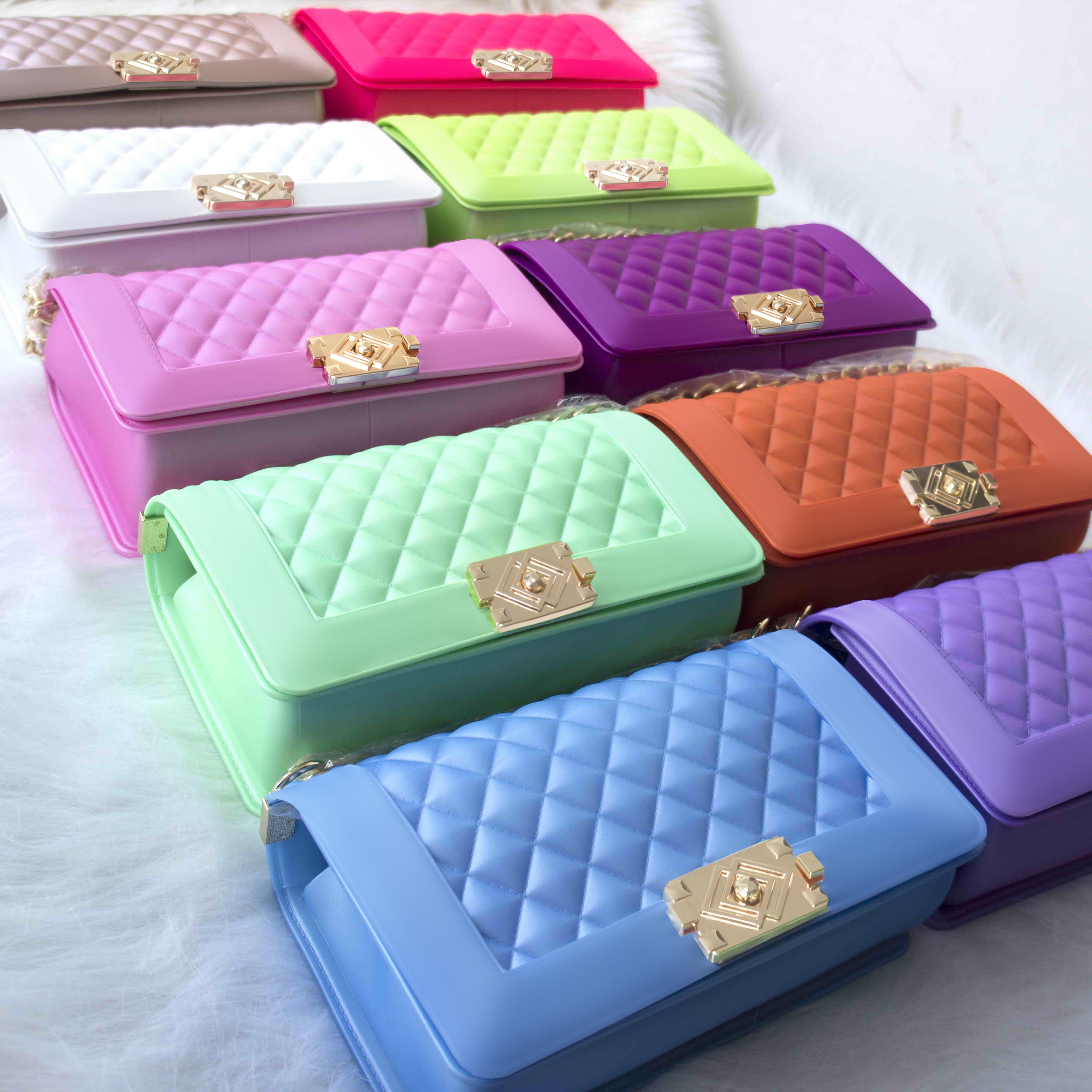 Lady handbag jelly shoulder bag colorful PVC bag trendy handbag fashion bag tote shoulder handbag for women