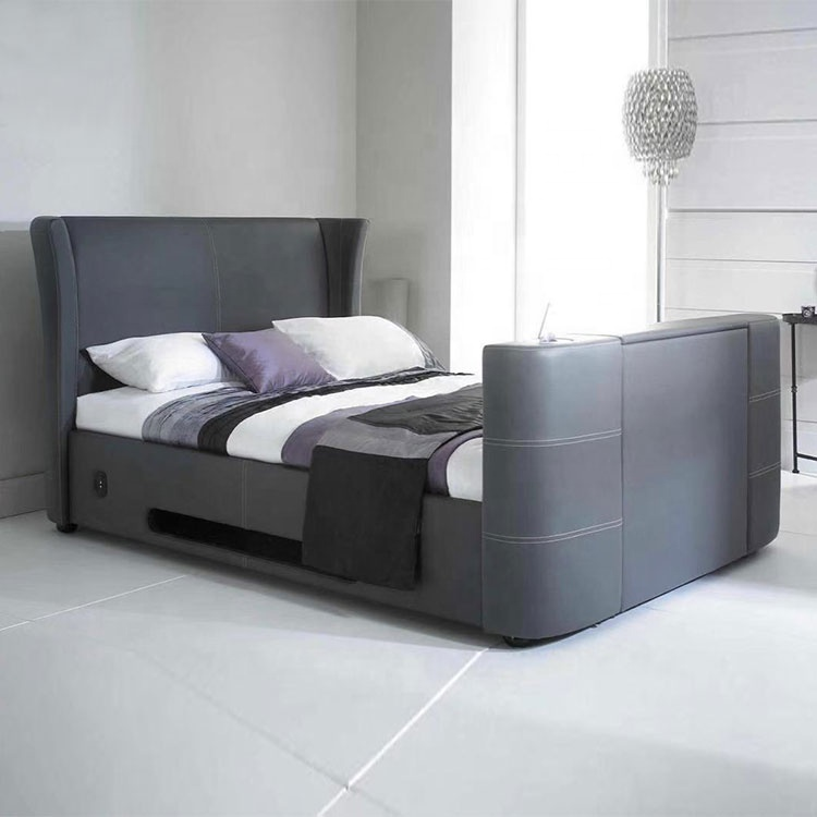 queen size leather bed  black modernnew design bed with upholstered heardboard bed hidden tv