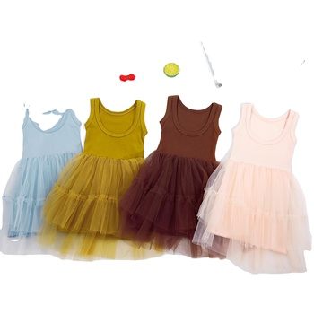 Fashion Girl Dress Lace Design Baby Girls Dress sleeveless For Girls Casual Wear Children Clothing