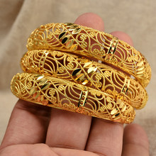 Annayoyo 24 К золотой цвет свадебный цветок браслеты для женщин ювелирные изделия талисманы браслеты для девочек свадебные украшения фестиваль ...(Китай)