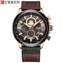 Часы CURREN Мужские, модные, кварцевые, с кожаным ремешком, спортивные, кварцевые, наручные, с секундомером, с циферблатом(Китай)
