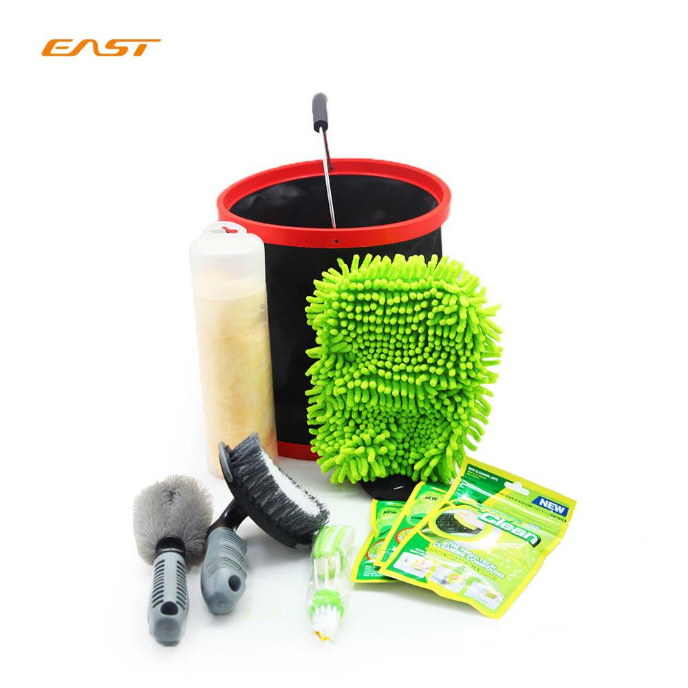 Восточный мульти-функциональный микрофибры автомойка набор инструментов для чистки комплекты с перчатками гель ведро из ткани