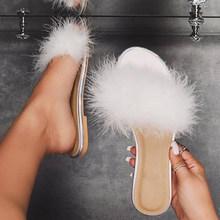 Женские тапочки; Модель 2020 года; Модная женская повседневная обувь на плоской подошве с белыми перьями; Женская летняя пляжная Уличная обув...(Китай)