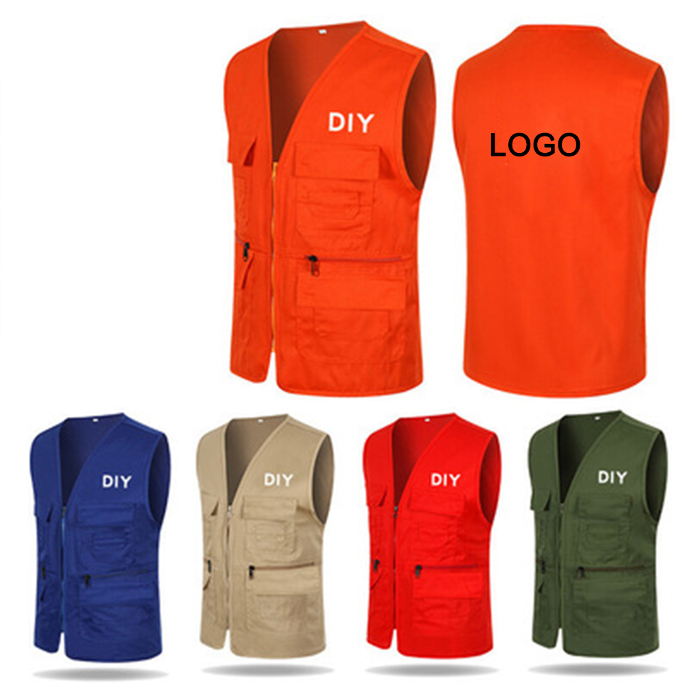 Mens photography multi pocket advertising vest custom volunteer work clothes custom print logo fishing vest