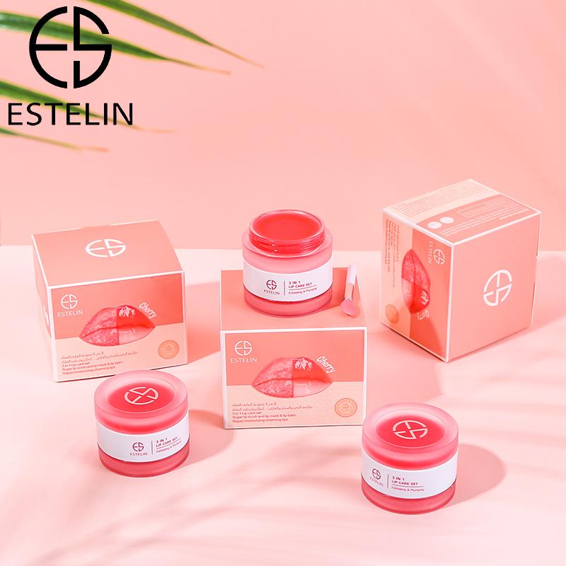 ESTELIN 3 in 1 Lip Care Set Cherry Sugar Lip Scrub Moisturizing Lip Balm