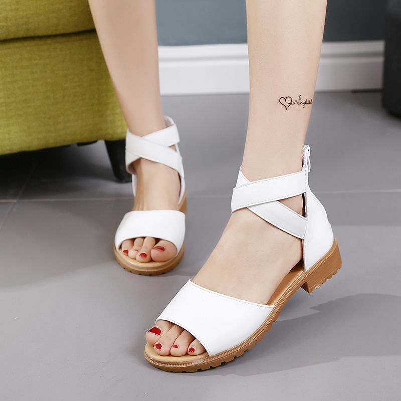 fashion summer casual comfortable women flat shoes suede ankle wrap strap flat sandals for women 2021