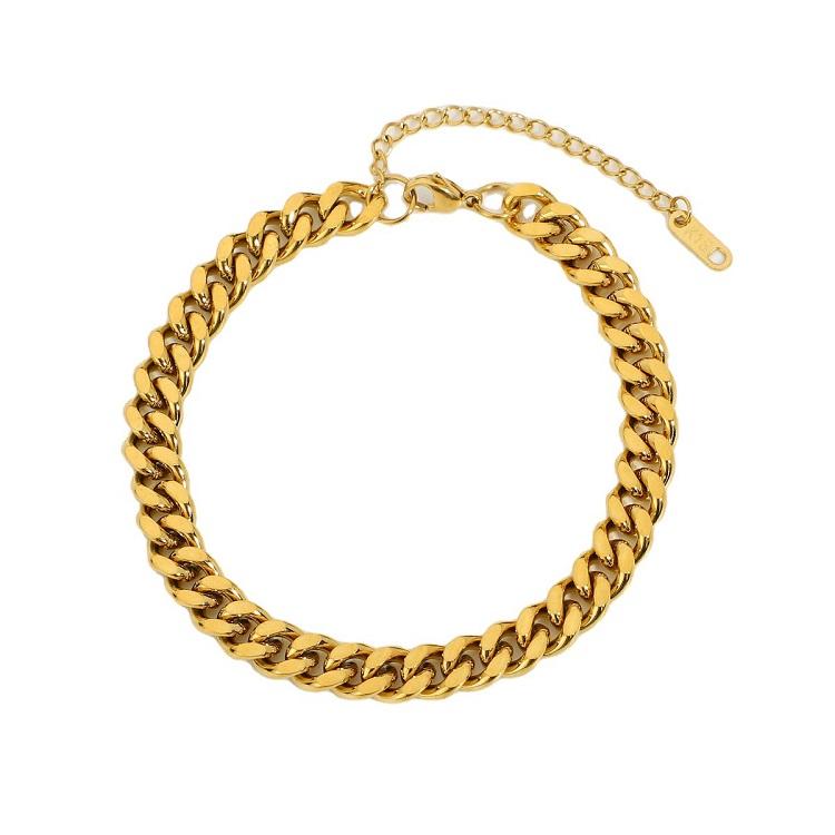 Золотые ювелирные изделия без потускнения, кубинская цепь из нержавеющей стали для тенниса, браслеты на ногу
