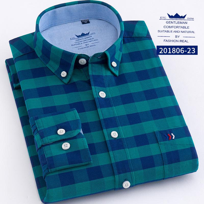 Factory direct custom men casual plaid 100% cotton shirts