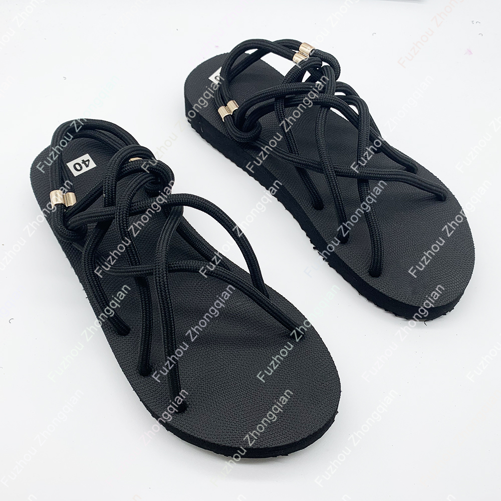 2021 custom logo Bandage Lace Up Beach Sandals Casual Fashion Shoes Ladies Slide Footwear Women Flat Sandals