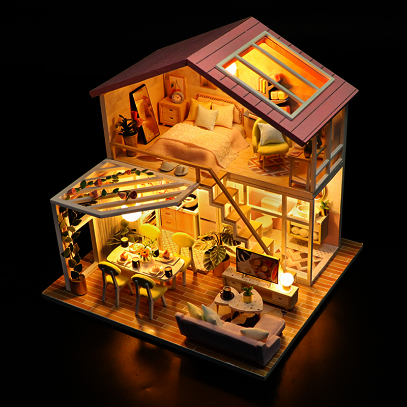 Kids 3D DIY Wooden Miniature Doll House Furniture Hands Craft Puzzle Assemble 3D Miniaturas Dollhouse with Led Light for Girls