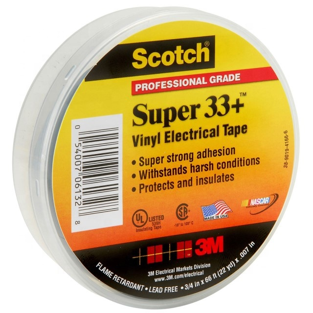 3M 33+ Black Vinyl Electrical Tape/3M PVC insulation Tape ,7mil,19mmX20M