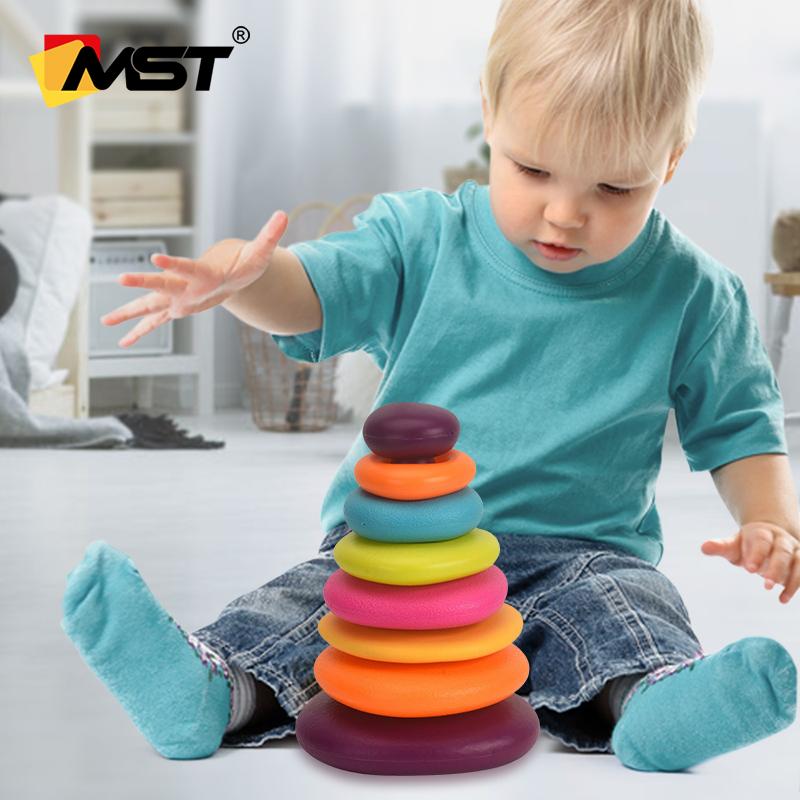 Детские Игрушки для раннего развития, радужные штабелируемые кольца, текстурированное кольцо, штабелер для малышей