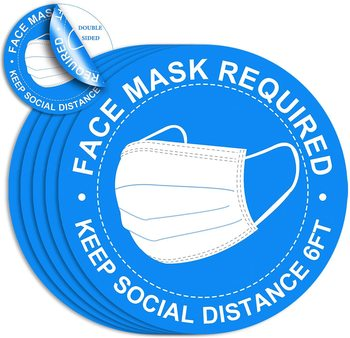 "Please WEAR A FACEMASK Sign, Adhesive Vinyl 8"" Wall Decals Waterproof Vinyl Stickers"
