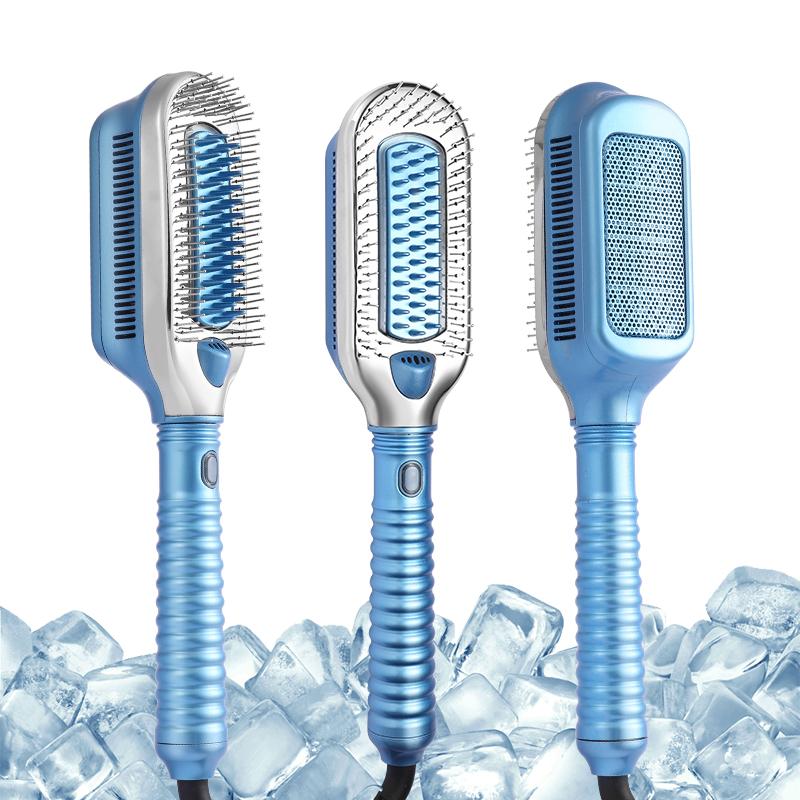 Новая технология ледяная терапия плоская щетка без нагрева холодный ветер гребень для влажного и сухого льда двойная щетка для выпрямления волос