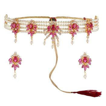 Indian fashion jewellery gold plated pink color stone choker necklace jewelry set for women