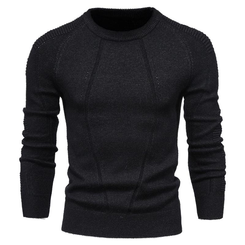 Пуловер мужской однотонный с геометрическим рисунком, повседневный модный приталенный свитер с круглым вырезом, Осень-зима