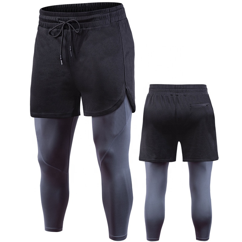 Mens Double Layer Compression Capris With Pocket Wholesale Custom Sportswear Mens Workout Athletic Capris