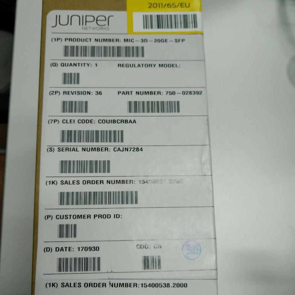 Juniper MIC-3D-20GE-SFP MIC Card Enterprise use 100% Original and New Sealed