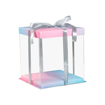 Cheap Beautiful all clear display plastic pet birthday cake packaging box
