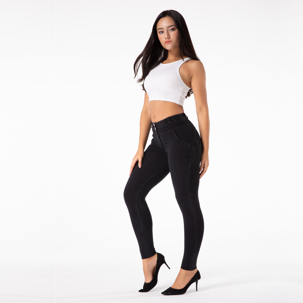 Melody four way stretch denim leggings spandex butt lifting push up jeans women compression wear butt enhancing jeans